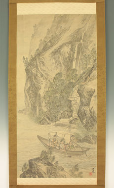 """Handpainted hanging scroll after Cho Gessho (1772-1832) - """"Moon and Boating"""" - Japan - Late 19th century"""