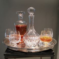 Vintage whisky, cognac decanter, carafe bar set with 4 glasses - mid century bar ware - 24% Blei crystal of the company Schott Zwiesel 6 x