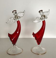 2 red angels on a pedestal - Venetian glass