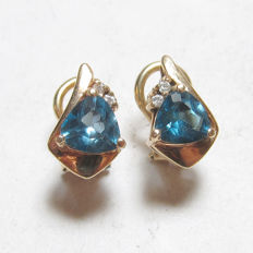 Gold earrings with Blue Topaz & diamonds
