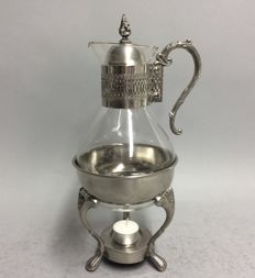 Glass coffee pot in silver plated mounting on original brazier, England, mid 20th century