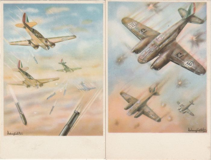 fascismo lot of 21 postcards italian military planes wwii catawiki. Black Bedroom Furniture Sets. Home Design Ideas