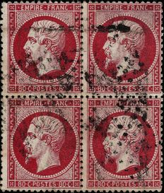 France 1862 – Dark pink serrated 80c Empire stamp, block of 4 – Yvert no. 24b