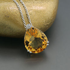 Charming citrine brilliant necklace 3.41 ct in total, 750- white gold - necklace length of 45 and 42 cm ---no reserve price---