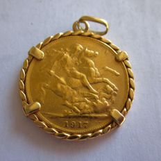 Great Britain - Sovereign 1917 (item of jewellery) - Georgius V - Gold