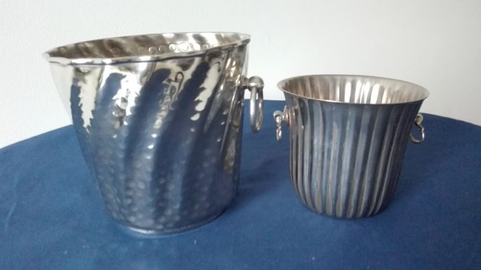 Two silver plated ice buckets