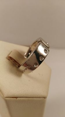 Ring in 925% silver, 4.6 g, with diamonds for 0.06 ct - size 15