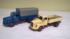 Minichamps - Scale 1/43 - Lot of 2 trucks Mercedes-Benz L 3500 from 1950: Tipper Truck and Canvas Truck - Original limited editions of 2000, limited to 1500 copies for the Tipper Truck