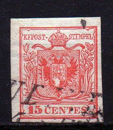 Lombardy-Venetia, 1850 – 15 Cents Red with Central Print Fade - Sassone No. 3, Michel No. 3X