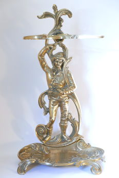 Great umbrella holder of baroque style representing a man surrounded by foliage - France