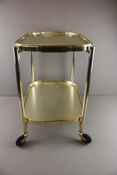 Producer unknown - gold-coloured aluminium serving trolley