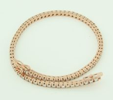18k rose gold thin bracelet set with 65 brilliant cut diamonds of approx. 3.35 carat in total