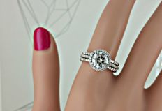 1.72 ct round diamond ring in 18 kt white gold - size 7