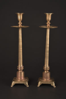 Wonderful set of long slim bronze collar candlesticks - France