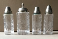 Salt and pepper set in Silver 800 and bevelled crystal - Italy - 1960s