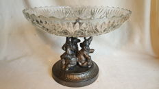 Large cut crystal bowl on metal base with elephants; marked
