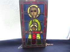 Madonna with child - stained glass window - signed Taize - 20th century