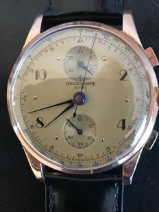 """Chronographe """"SUISSE"""" rose gold, 18 kt, hand-wound watch, mint condition, 1940s/1950s, men's wristwatch"""
