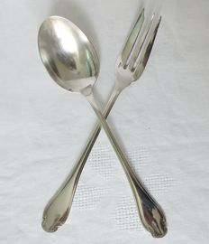 silver plated serving utensils, Christofle, Pompadour model, Louis XV style