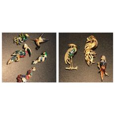 Collection of 8 large vintage signed enamelled bird brooches, ca. 1940's