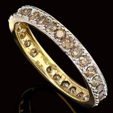 14 k t  yellow  gold band with  Brown diamonds 0.75 ct  - size 7 US