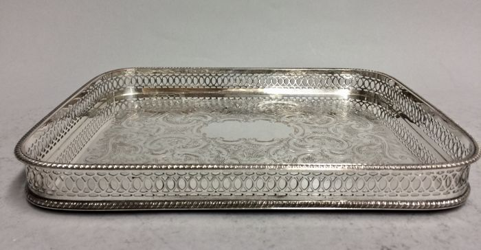 Silver plated serving tray with floral decoration and raised edge, so-called gallery, Sheffield, England, ca 1920