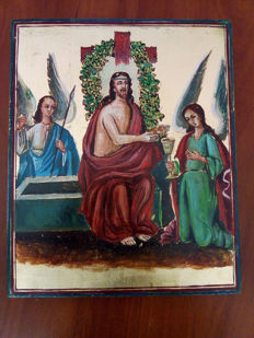 20th century ortodox russian icon of revival hand painted