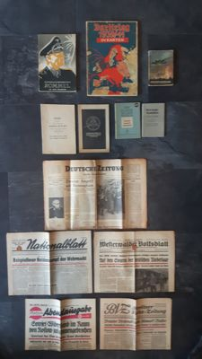 Lot of German and Dutch propaganda books and newspapers from WW2