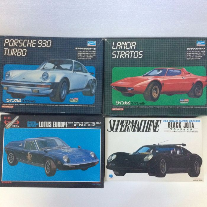 Yodel Super Machine - Scale 1/24 - Lot with 4 Motorized Cars: Lotus, Lamborghini, Porsche & Lancia