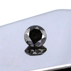 Natural Fancy Black 1.50 Ct. Round Brilliant shape Diamond, AIG Certified