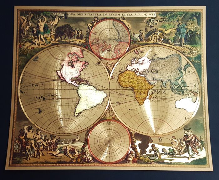 World;  Frederick De Wit - Nova Orbis Tabula, In Lucem Edita, A.F.de Wit. - recent - Replica