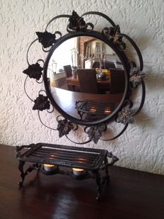 Vintage French hallway set, wrought/cast iron, with convex mirror