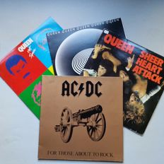 4 LP's; 1x AC/DC, 3x Queen, Including Nude Girls on Bike Poster!