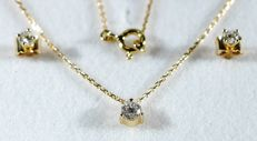 Necklace 750/1000 gold with solitaire diamond an earrings brilliant, 42 cm long