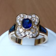 18K gold flower ring with 3 blue sapphires 1,53ctct and 0,54ct diamonds - size 54