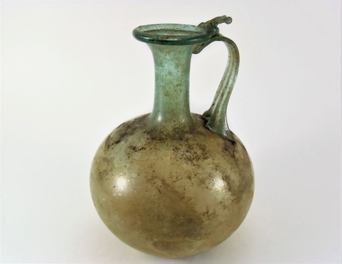 Roman green glass jug - 143 mm