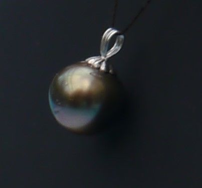 Pendant 14 kt gold with a round Tahitian pearl (10.3 mm)