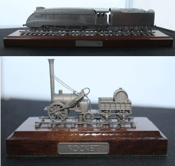 Franklin Mint - Rocket Locomotive and Mallard Locomotive - on Stand - Solid Pewter