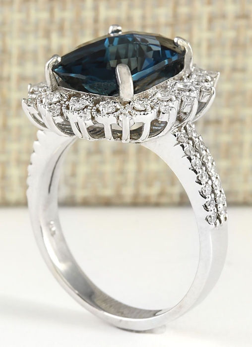 carat london blue topaz 14k solid white gold diamond. Black Bedroom Furniture Sets. Home Design Ideas