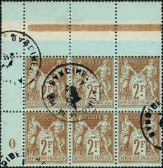 France 1900 – Sage Type II f brown on azure, block of 6  vintage 0 with top of sheet – Yvert no.105