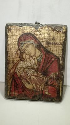 Copy of a Russian icon, with warranty, painted on fabric and wood with golden background, 20th century