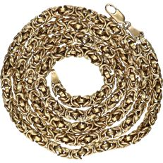 14 kt Yellow gold king's braid link necklace - length x width: 61.5 x 0.4 cm