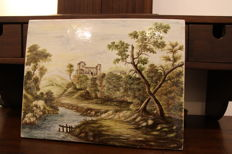 Great and Valuable Ceramic Tile from Castelli, signed R. Pardi