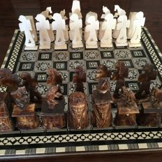 Hand made Egyptian chess set of bone with Intarsia chessboard