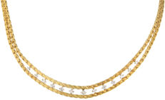 18 kt. - Yellow gold two-strand luna link necklace set with 13 brilliant cut diamonds of approx. 1.23 ct in total. in a white gold setting with a box clasp with safety catch