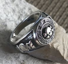 Sterling Silver 925 Latin Mori Skull Ring Knights of Pythias Handmade - size 68