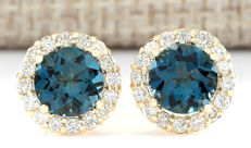 3.65 Carat London Blue Topaz And Diamond 14K Solid Yellow Gold Earrings - Face Measures: 10.60x10.60mm *** Free Shipping *** No Reserve ***