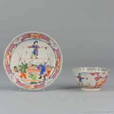 Very rare Circus Cup & Saucer Tea - China - 18C ( Qianlong period )