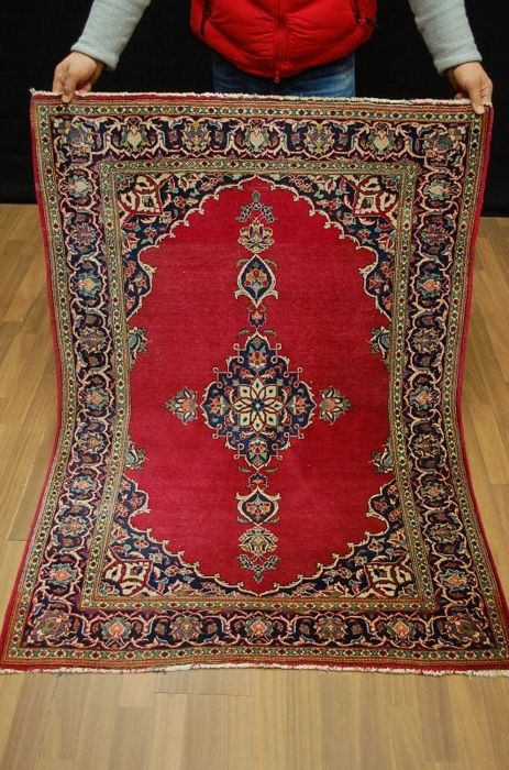 Hand-knotted Persian Keshan old carpet Teppich Tappeto tapis rug