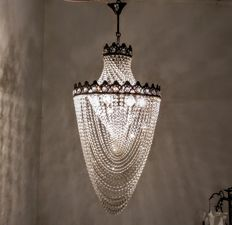 French Brass Crystal Chandelier, 1970s